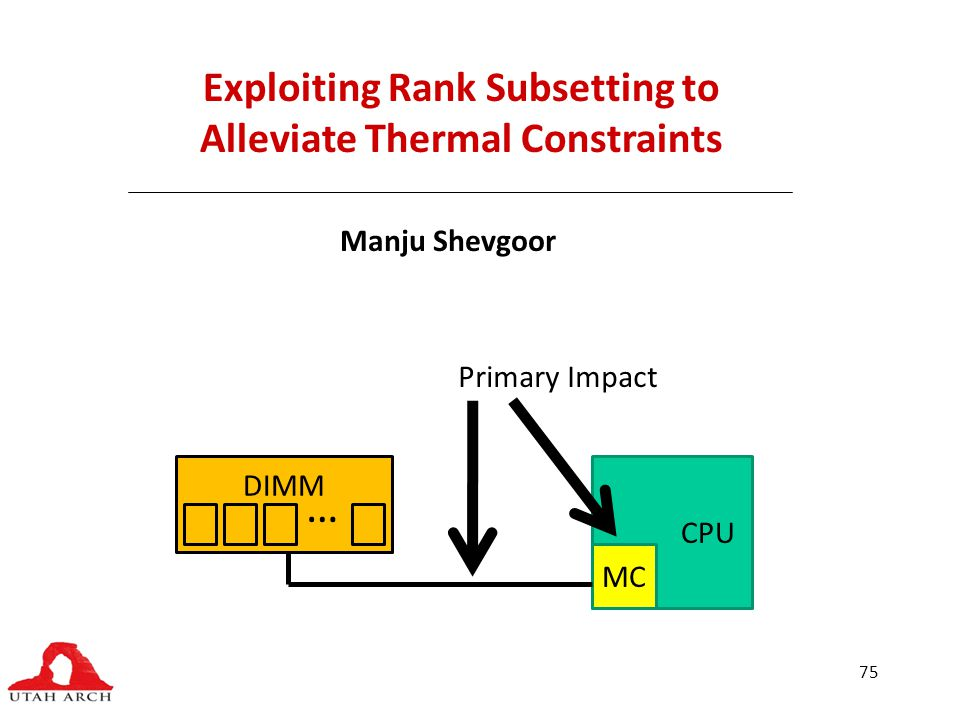 75 Exploiting Rank Subsetting to Alleviate Thermal Constraints Manju Shevgoor CPU MC DIMM … Primary Impact