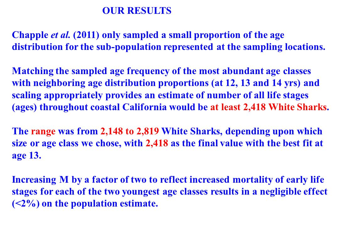 OUR RESULTS Chapple et al. (2011) only sampled a small proportion of the age distribution for the sub-population represented at the sampling locations