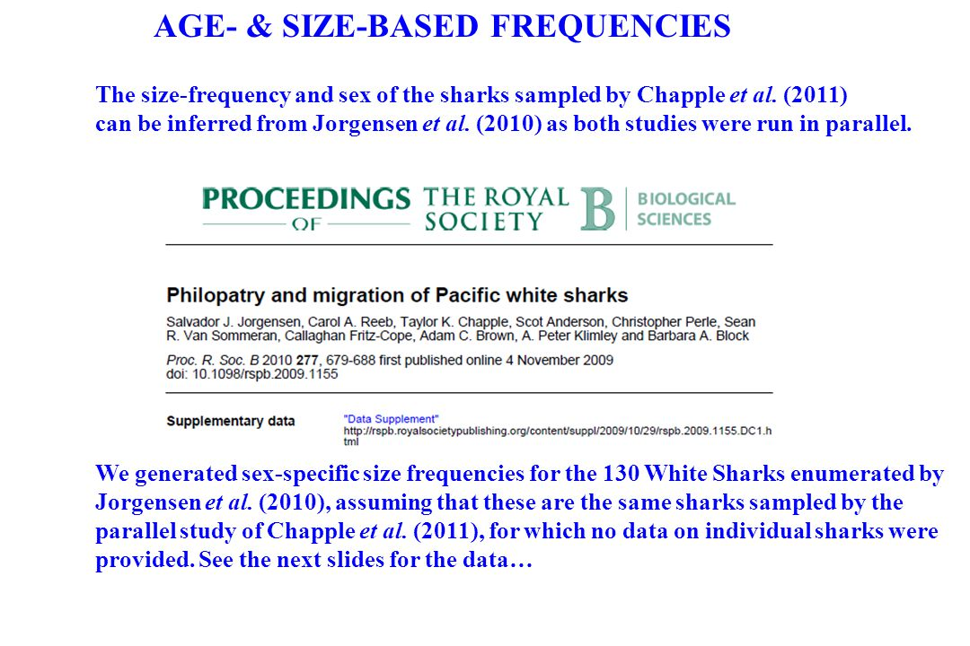 AGE- & SIZE-BASED FREQUENCIES The size-frequency and sex of the sharks sampled by Chapple et al. (2011) can be inferred from Jorgensen et al. (2010) a