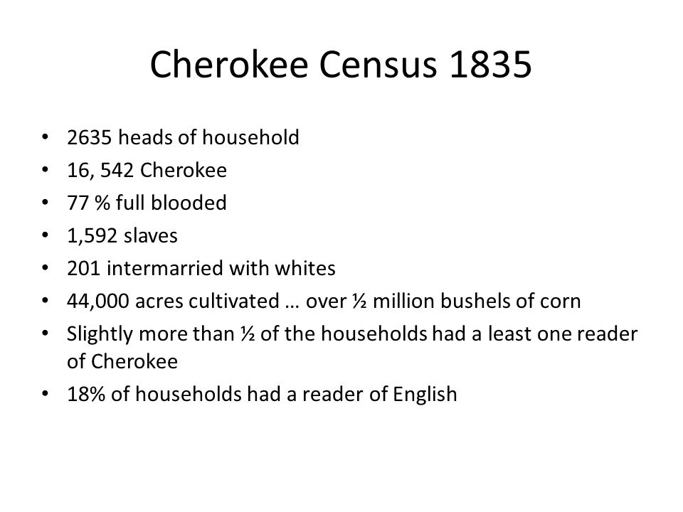 Cherokee Census 1835 2635 heads of household 16, 542 Cherokee 77 % full blooded 1,592 slaves 201 intermarried with whites 44,000 acres cultivated … over ½ million bushels of corn Slightly more than ½ of the households had a least one reader of Cherokee 18% of households had a reader of English