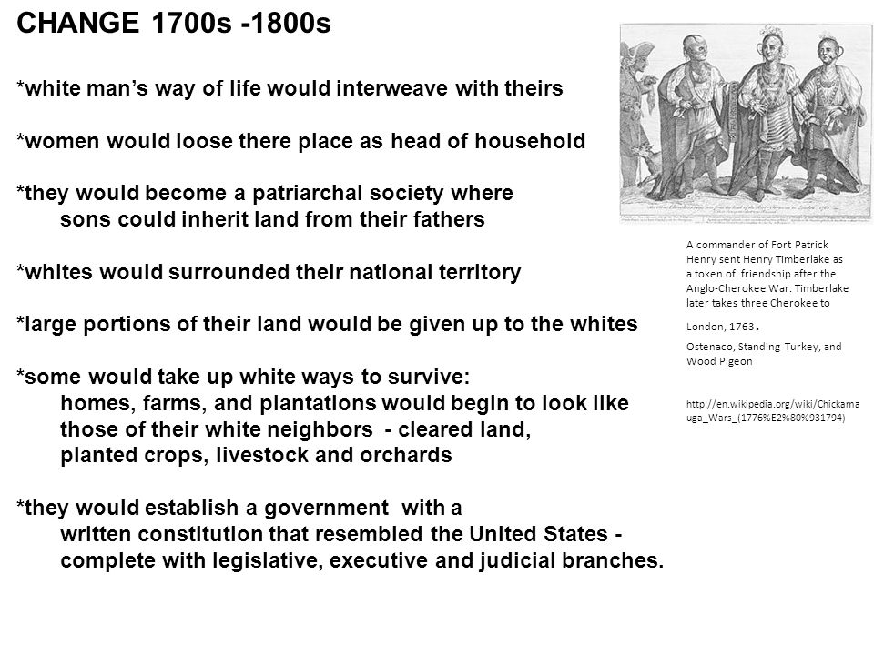 CHANGE 1700s -1800s *white man's way of life would interweave with theirs *women would loose there place as head of household *they would become a patriarchal society where sons could inherit land from their fathers *whites would surrounded their national territory *large portions of their land would be given up to the whites *some would take up white ways to survive: homes, farms, and plantations would begin to look like those of their white neighbors - cleared land, planted crops, livestock and orchards *they would establish a government with a written constitution that resembled the United States - complete with legislative, executive and judicial branches.