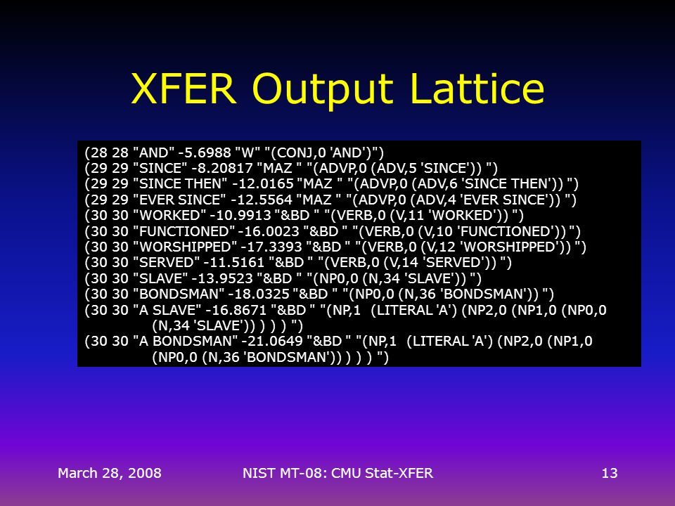 March 28, 2008NIST MT-08: CMU Stat-XFER13 XFER Output Lattice (28 28 AND -5.6988 W (CONJ,0 AND ) ) (29 29 SINCE -8.20817 MAZ (ADVP,0 (ADV,5 SINCE )) ) (29 29 SINCE THEN -12.0165 MAZ (ADVP,0 (ADV,6 SINCE THEN )) ) (29 29 EVER SINCE -12.5564 MAZ (ADVP,0 (ADV,4 EVER SINCE )) ) (30 30 WORKED -10.9913 &BD (VERB,0 (V,11 WORKED )) ) (30 30 FUNCTIONED -16.0023 &BD (VERB,0 (V,10 FUNCTIONED )) ) (30 30 WORSHIPPED -17.3393 &BD (VERB,0 (V,12 WORSHIPPED )) ) (30 30 SERVED -11.5161 &BD (VERB,0 (V,14 SERVED )) ) (30 30 SLAVE -13.9523 &BD (NP0,0 (N,34 SLAVE )) ) (30 30 BONDSMAN -18.0325 &BD (NP0,0 (N,36 BONDSMAN )) ) (30 30 A SLAVE -16.8671 &BD (NP,1 (LITERAL A ) (NP2,0 (NP1,0 (NP0,0 (N,34 SLAVE )) ) ) ) ) (30 30 A BONDSMAN -21.0649 &BD (NP,1 (LITERAL A ) (NP2,0 (NP1,0 (NP0,0 (N,36 BONDSMAN )) ) ) ) )