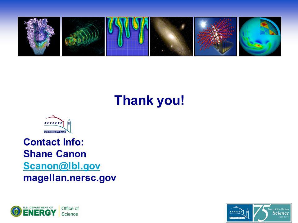 Thank you! Contact Info: Shane Canon Scanon@lbl.gov magellan.nersc.gov