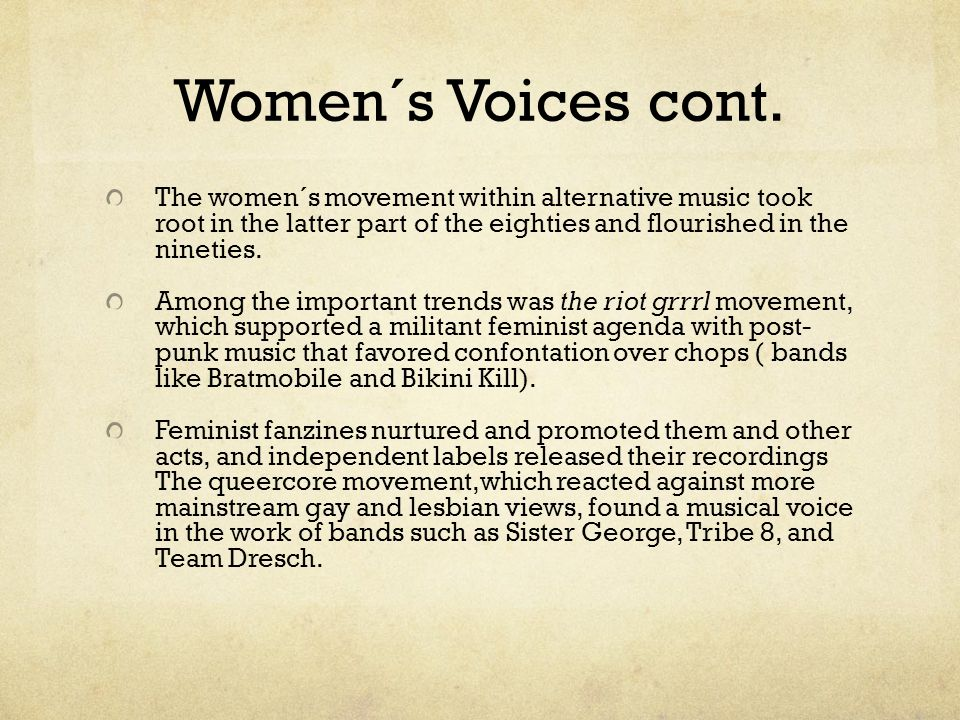 Women´s Voices cont.