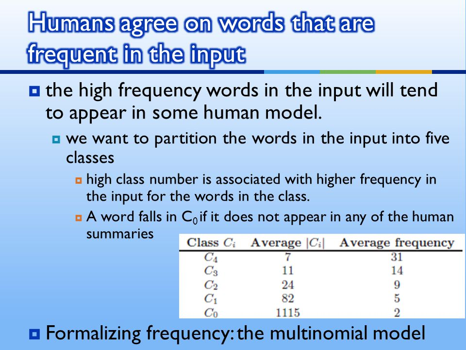  the high frequency words in the input will tend to appear in some human model.