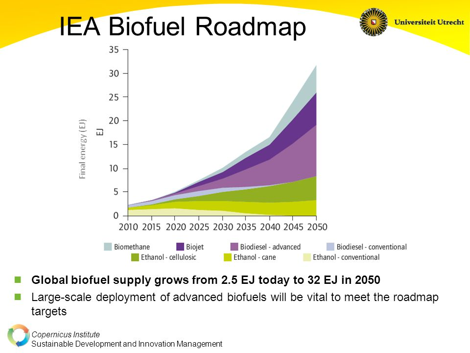 Copernicus Institute Sustainable Development and Innovation Management IEA Biofuel Roadmap Global biofuel supply grows from 2.5 EJ today to 32 EJ in 2