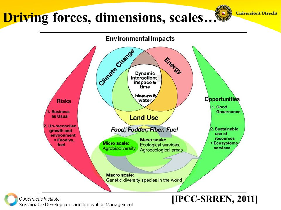Copernicus Institute Sustainable Development and Innovation Management [IPCC-SRREN, 2011] Driving forces, dimensions, scales…