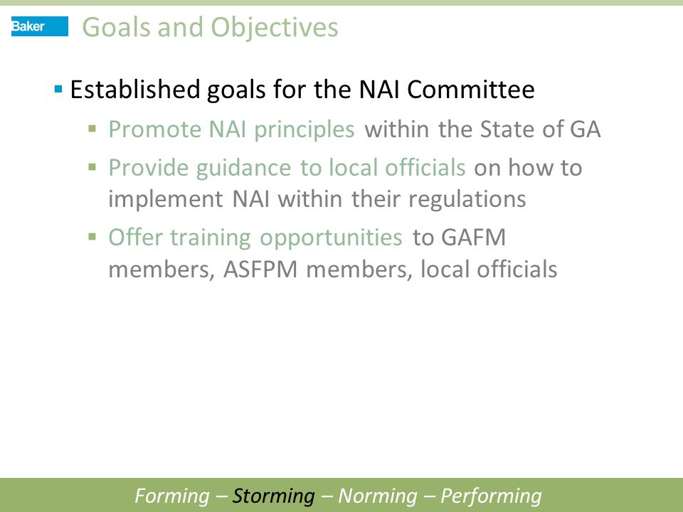 Goals and Objectives  Established goals for the NAI Committee  Promote NAI principles within the State of GA  Provide guidance to local officials o