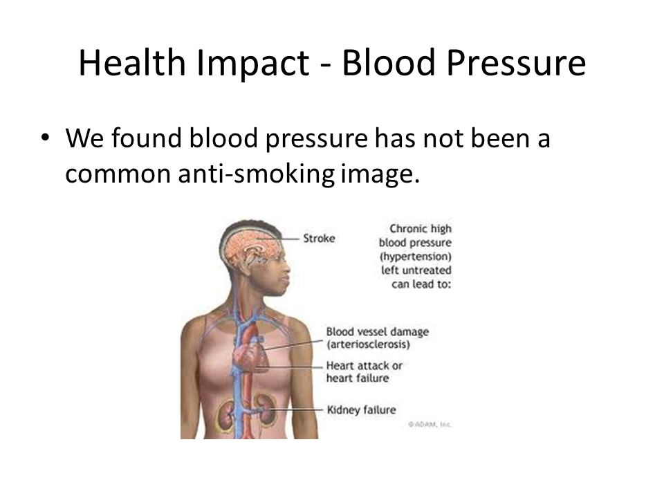 Health Impact - Blood Pressure We found blood pressure has not been a common anti-smoking image.