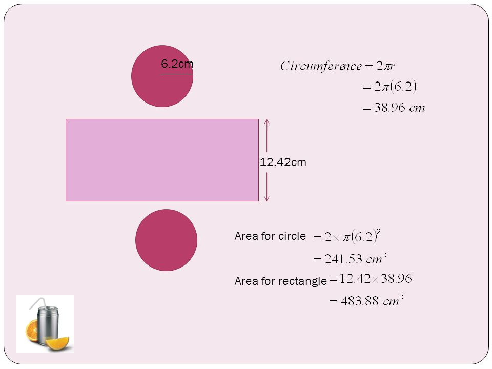 12.42cm 6.2cm Area for circle Area for rectangle