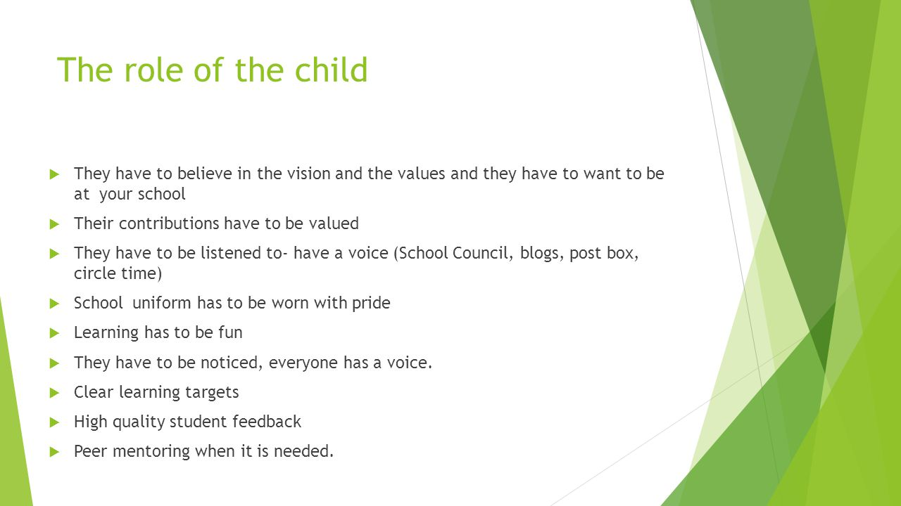 The role of the child  They have to believe in the vision and the values and they have to want to be at your school  Their contributions have to be valued  They have to be listened to- have a voice (School Council, blogs, post box, circle time)  School uniform has to be worn with pride  Learning has to be fun  They have to be noticed, everyone has a voice.