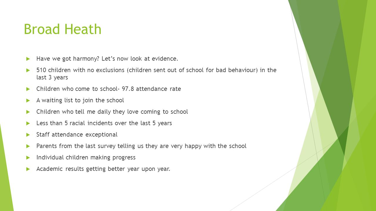 Broad Heath  Have we got harmony.Let's now look at evidence.