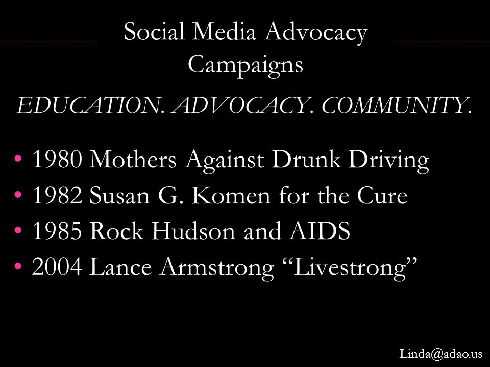 "Social Media Advocacy Campaigns 1980 Mothers Against Drunk Driving 1982 Susan G. Komen for the Cure 1985 Rock Hudson and AIDS 2004 Lance Armstrong ""Li"