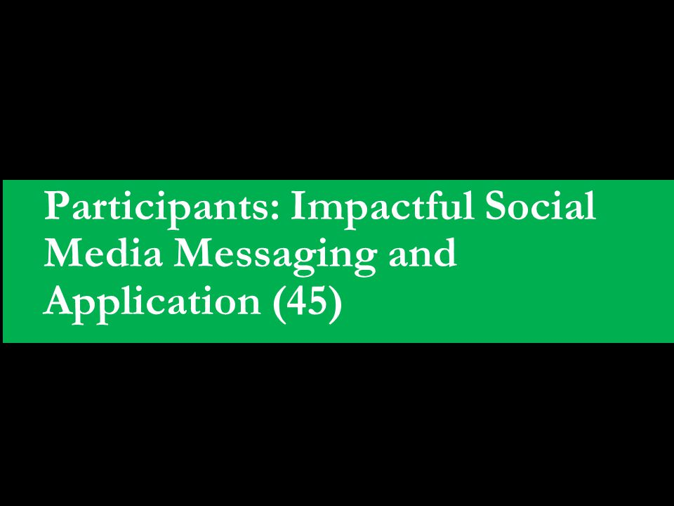 Participants: Impactful Social Media Messaging and Application (45)