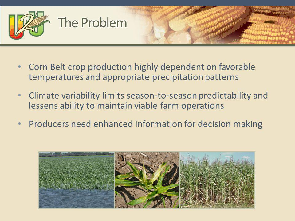 Corn Belt crop production highly dependent on favorable temperatures and appropriate precipitation patterns Climate variability limits season-to-season predictability and lessens ability to maintain viable farm operations Producers need enhanced information for decision making