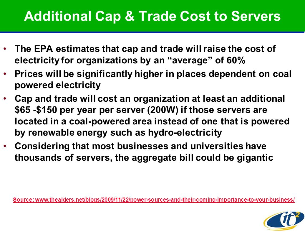 Additional Cap & Trade Cost to Servers The EPA estimates that cap and trade will raise the cost of electricity for organizations by an average of 60% Prices will be significantly higher in places dependent on coal powered electricity Cap and trade will cost an organization at least an additional $65 -$150 per year per server (200W) if those servers are located in a coal-powered area instead of one that is powered by renewable energy such as hydro-electricity Considering that most businesses and universities have thousands of servers, the aggregate bill could be gigantic Source: www.thealders.net/blogs/2009/11/22/power-sources-and-their-coming-importance-to-your-business/