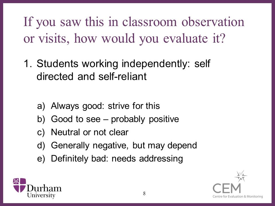∂ If you saw this in classroom observation or visits, how would you evaluate it.