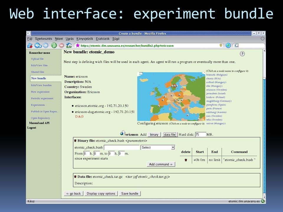 Web interface: experiment bundle