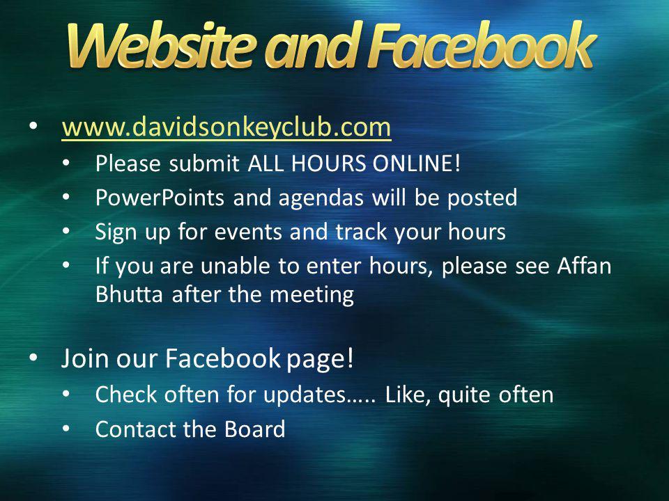 www.davidsonkeyclub.com Please submit ALL HOURS ONLINE.