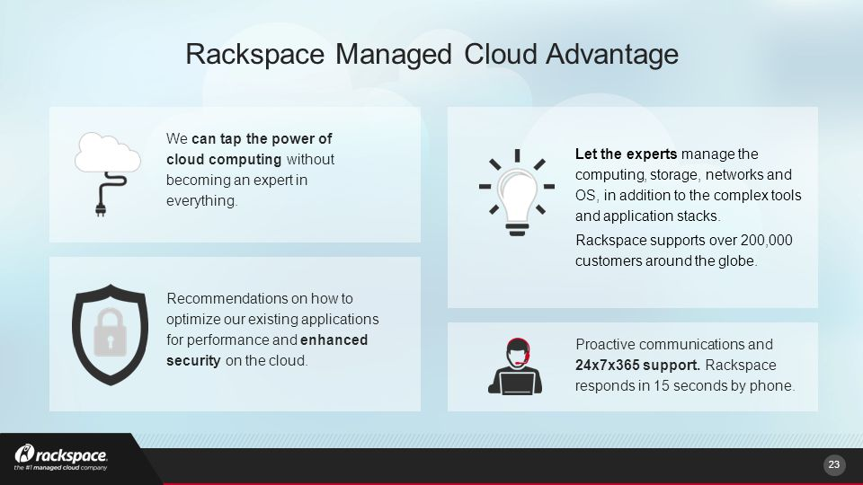 Rackspace Managed Cloud Advantage We can tap the power of cloud computing without becoming an expert in everything.