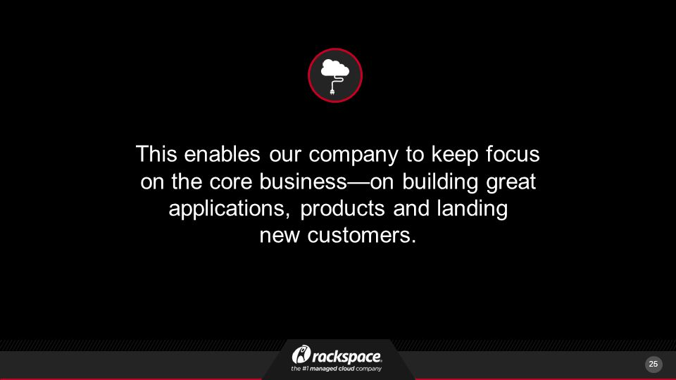 This enables our company to keep focus on the core business—on building great applications, products and landing new customers.