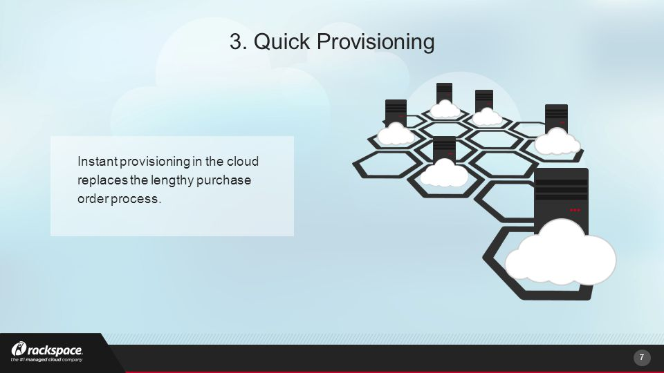 Instant provisioning in the cloud replaces the lengthy purchase order process.