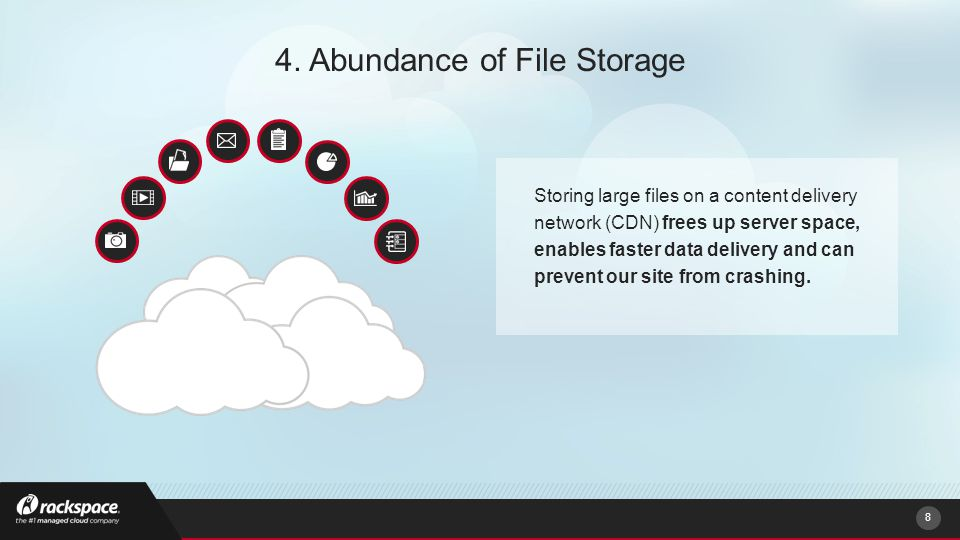 8 4. Abundance of File Storage Storing large files on a content delivery network (CDN) frees up server space, enables faster data delivery and can pre
