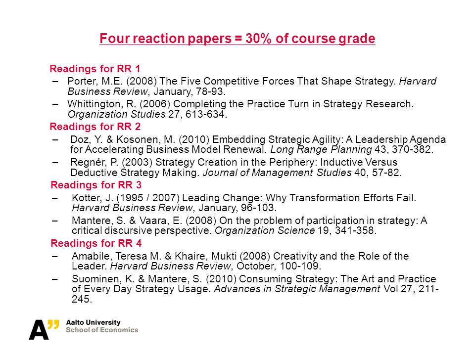 Four reaction papers = 30% of course grade Readings for RR 1 –Porter, M.E. (2008) The Five Competitive Forces That Shape Strategy. Harvard Business Re