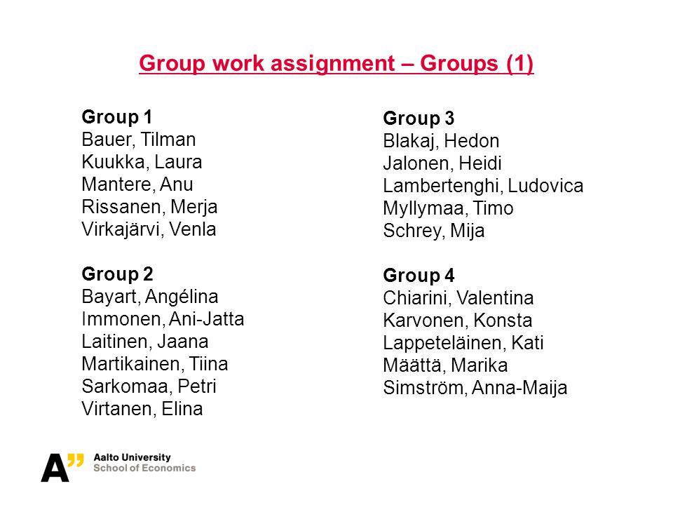 Group work assignment – Groups (2) Group 7 Gulz, Melanie Kovalenko, Ksenia Louhelainen, Milla Pietarinen, Stella Wahlman, Hanna Group 8 Hartman, Satu Kurkilahti, Kristiina Malinovskaya, Irina Pirskanen, Anna-Maija Wang, Jiao Hellström, Jussi Group 5 Engblom, Rilla Kortesaari, Katja Lehtinen, Olga Nopanen, Katri Strauß, Carola Group 6 Evers, Reetta Koryakina, Natalia Linkama, Meri Nurmi, Elsa-Maria Tiilikainen, Suvi-Marja