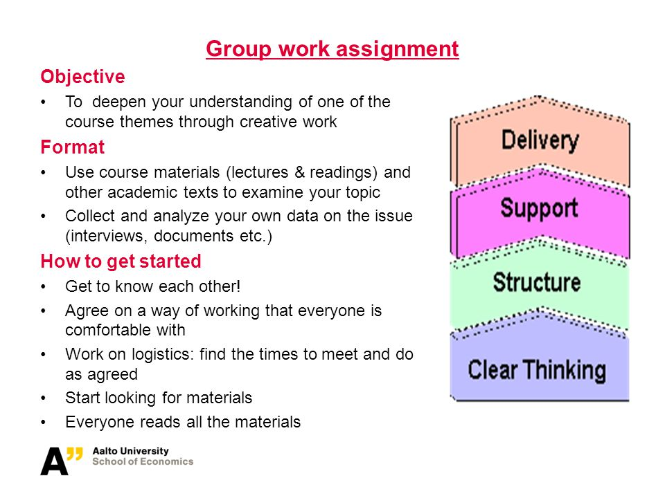Group work assignment Objective To deepen your understanding of one of the course themes through creative work Format Use course materials (lectures &
