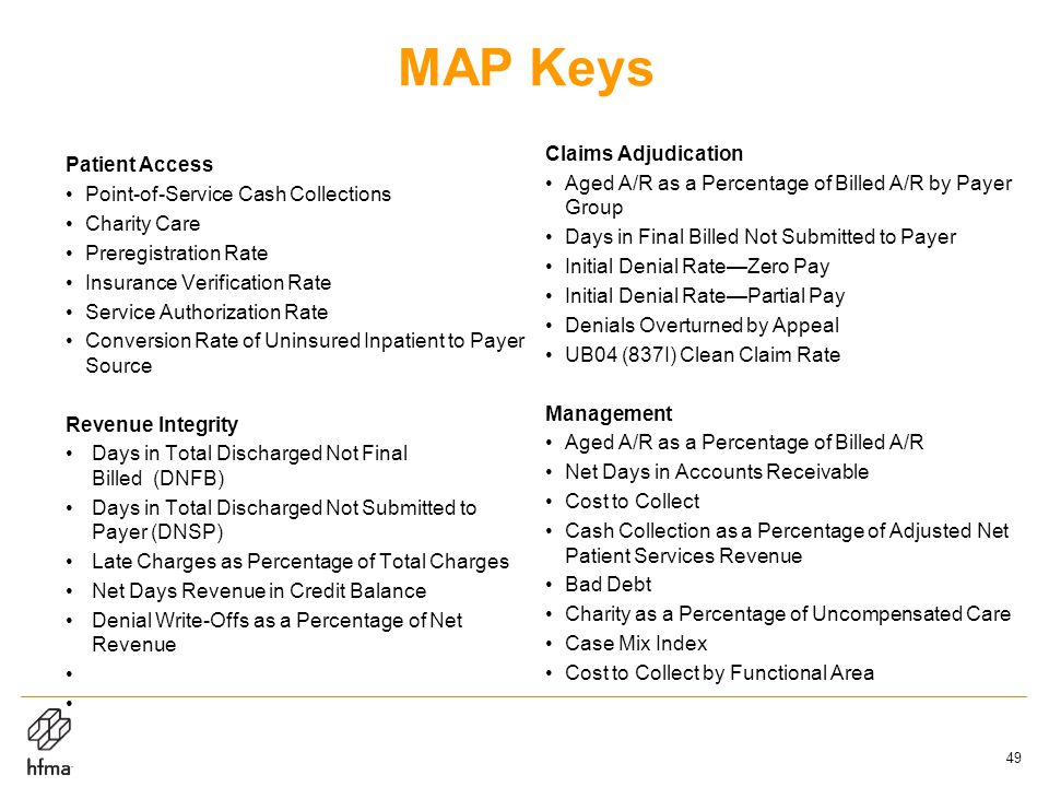 MAP Keys Patient Access Point-of-Service Cash Collections Charity Care Preregistration Rate Insurance Verification Rate Service Authorization Rate Conversion Rate of Uninsured Inpatient to Payer Source Revenue Integrity Days in Total Discharged Not Final Billed (DNFB) Days in Total Discharged Not Submitted to Payer (DNSP) Late Charges as Percentage of Total Charges Net Days Revenue in Credit Balance Denial Write-Offs as a Percentage of Net Revenue Claims Adjudication Aged A/R as a Percentage of Billed A/R by Payer Group Days in Final Billed Not Submitted to Payer Initial Denial Rate—Zero Pay Initial Denial Rate—Partial Pay Denials Overturned by Appeal UB04 (837I) Clean Claim Rate Management Aged A/R as a Percentage of Billed A/R Net Days in Accounts Receivable Cost to Collect Cash Collection as a Percentage of Adjusted Net Patient Services Revenue Bad Debt Charity as a Percentage of Uncompensated Care Case Mix Index Cost to Collect by Functional Area 49