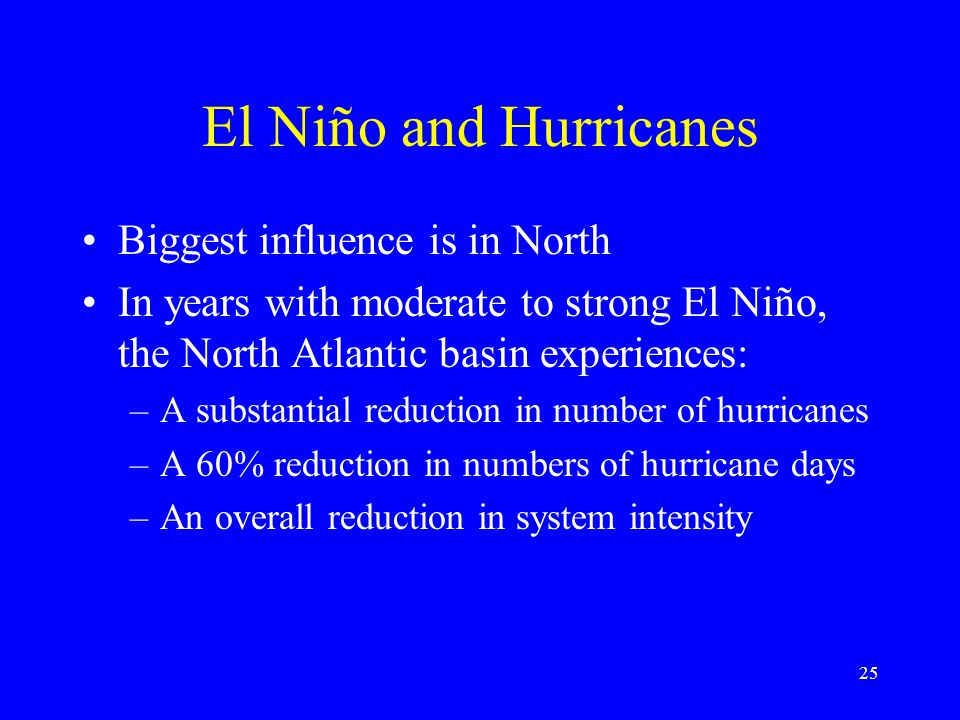 El Niño and Hurricanes Biggest influence is in North In years with moderate to strong El Niño, the North Atlantic basin experiences: –A substantial reduction in number of hurricanes –A 60% reduction in numbers of hurricane days –An overall reduction in system intensity 25