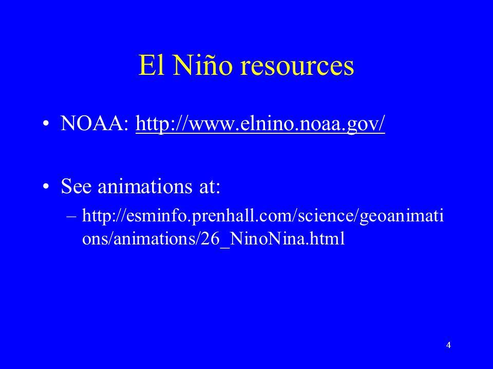 El Niño resources NOAA: http://www.elnino.noaa.gov/http://www.elnino.noaa.gov/ See animations at: –http://esminfo.prenhall.com/science/geoanimati ons/