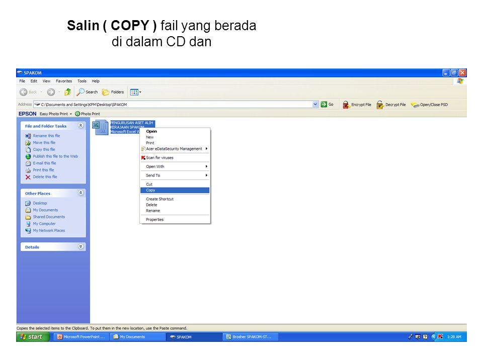 Salin ( COPY ) fail yang berada di dalam CD dan