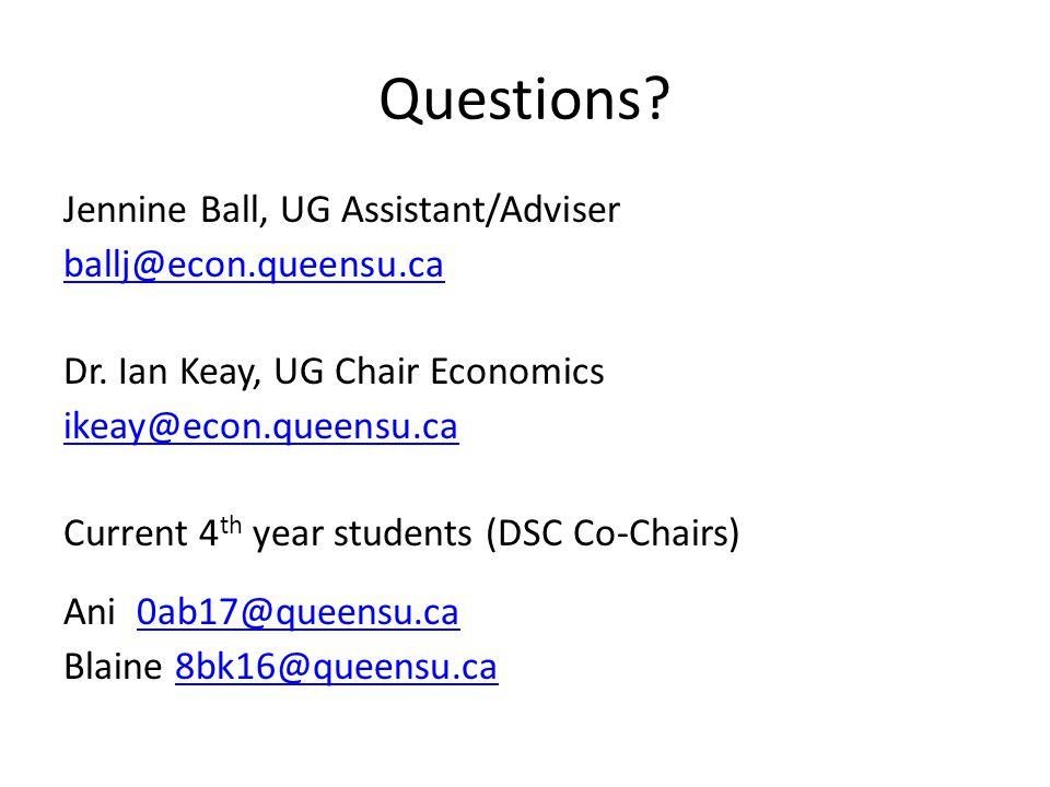 Questions. Jennine Ball, UG Assistant/Adviser ballj@econ.queensu.ca Dr.