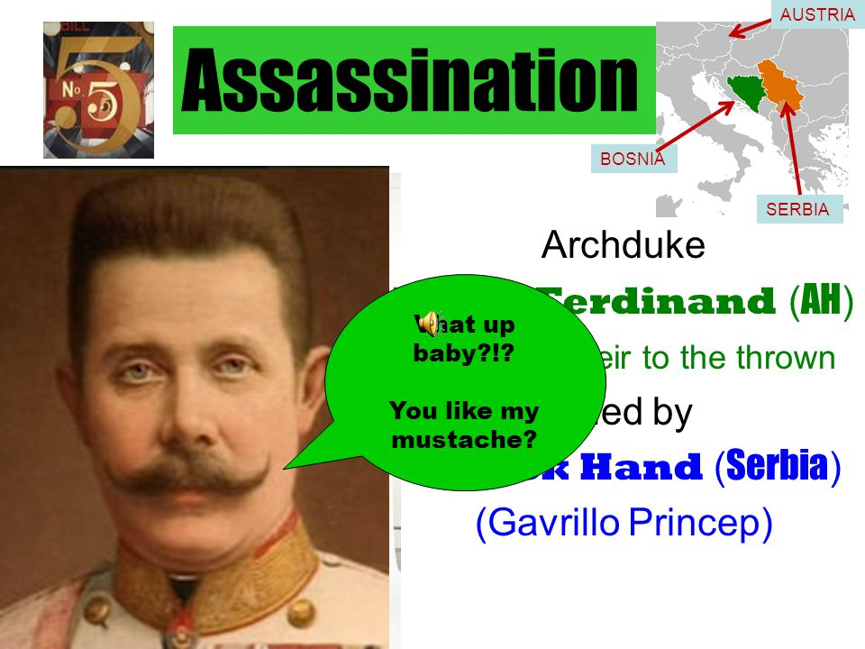 Assassination Archduke Franz Ferdinand ( AH ) Ferdy – heir to the thrown killed by Black Hand ( Serbia ) (Gavrillo Princep) Vhat up baby?!.
