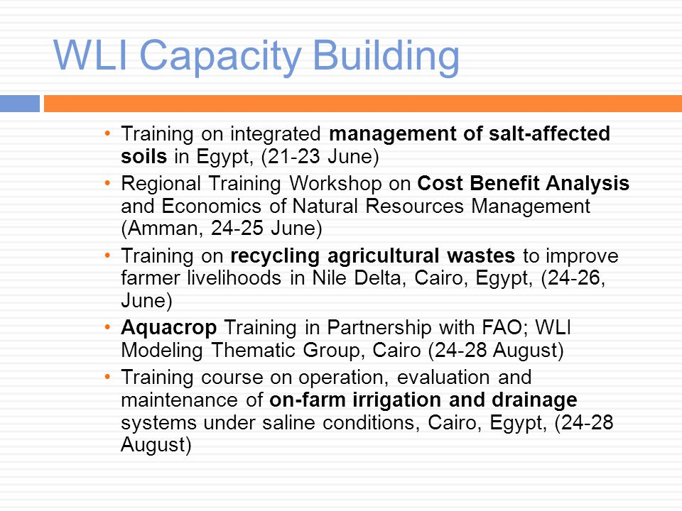 WLI Capacity Building Training on integrated management of salt-affected soils in Egypt, (21-23 June) Regional Training Workshop on Cost Benefit Analy