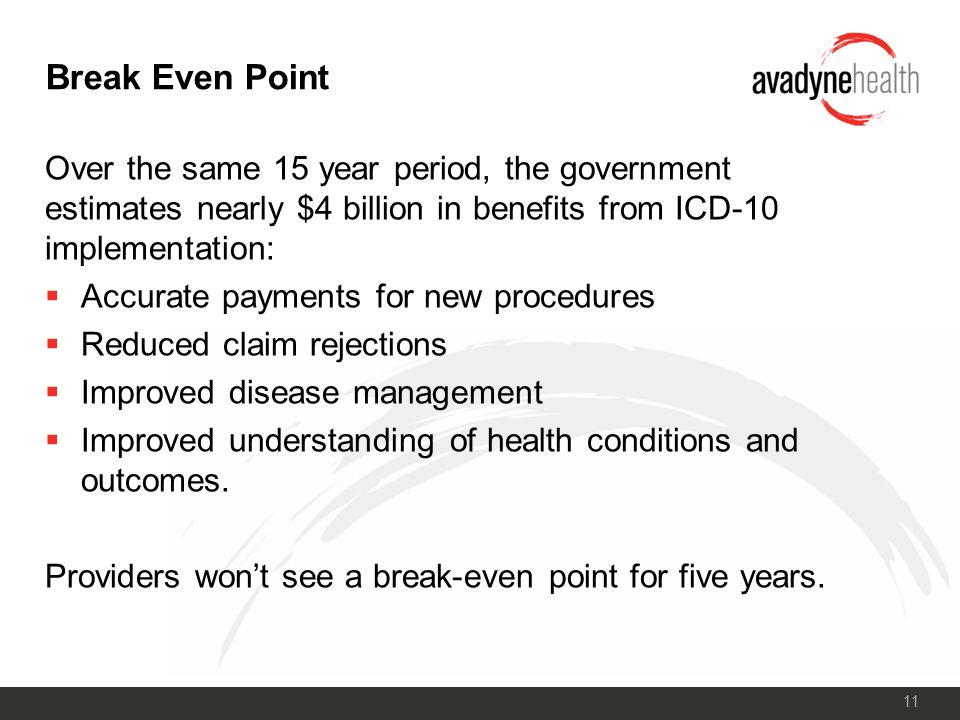 11 Break Even Point Over the same 15 year period, the government estimates nearly $4 billion in benefits from ICD-10 implementation:  Accurate payments for new procedures  Reduced claim rejections  Improved disease management  Improved understanding of health conditions and outcomes.