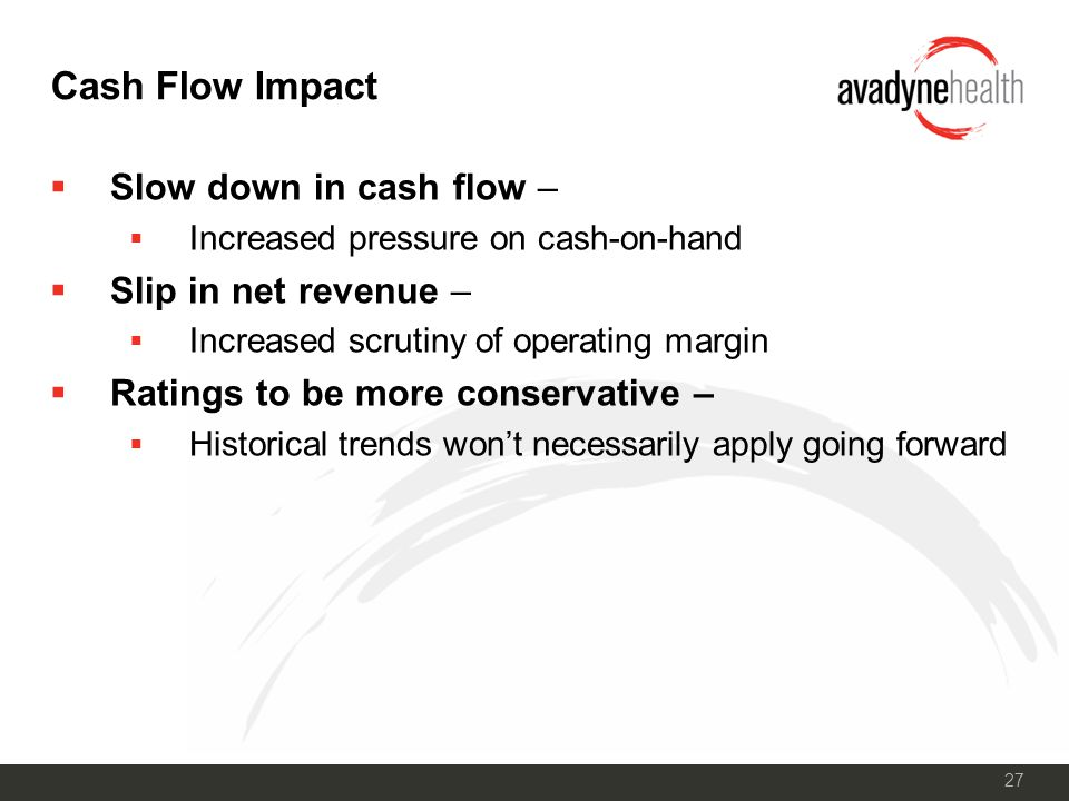 27 Cash Flow Impact  Slow down in cash flow –  Increased pressure on cash-on-hand  Slip in net revenue –  Increased scrutiny of operating margin  Ratings to be more conservative –  Historical trends won't necessarily apply going forward