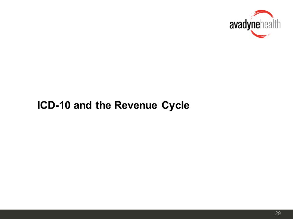 29 ICD-10 and the Revenue Cycle