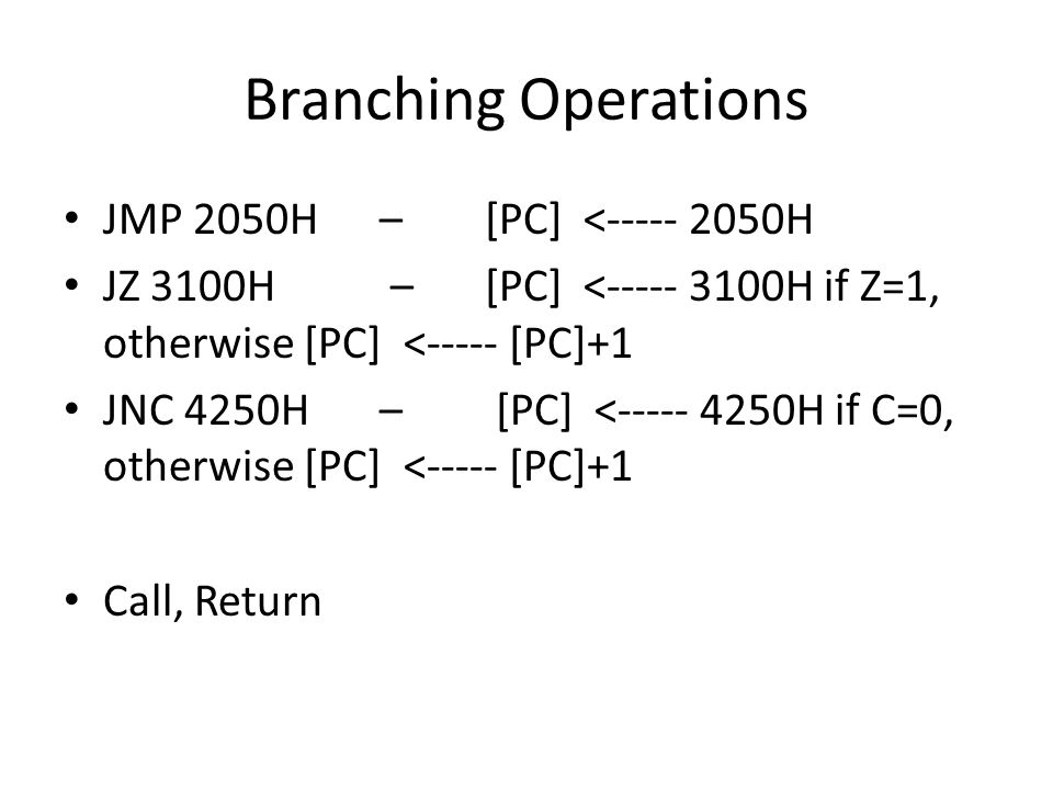 Branching Operations JMP 2050H – [PC] <----- 2050H JZ 3100H – [PC] <----- 3100H if Z=1, otherwise [PC] <----- [PC]+1 JNC 4250H – [PC] <----- 4250H if C=0, otherwise [PC] <----- [PC]+1 Call, Return