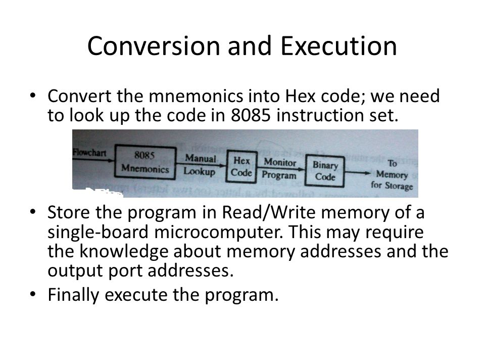 Conversion and Execution Convert the mnemonics into Hex code; we need to look up the code in 8085 instruction set.