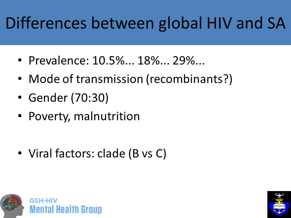 Differences between global HIV and SA Prevalence: 10.5%...