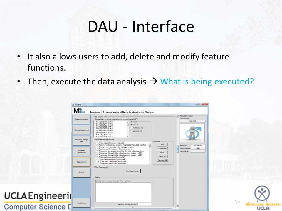 DAU - Interface It also allows users to add, delete and modify feature functions.