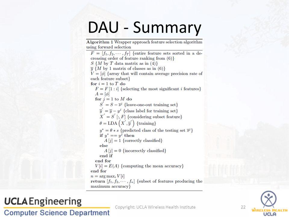 DAU - Summary Copyright: UCLA Wireless Health Institute22