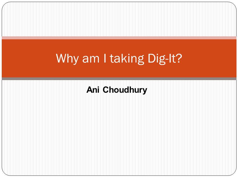 Ani Choudhury Why am I taking Dig-It?
