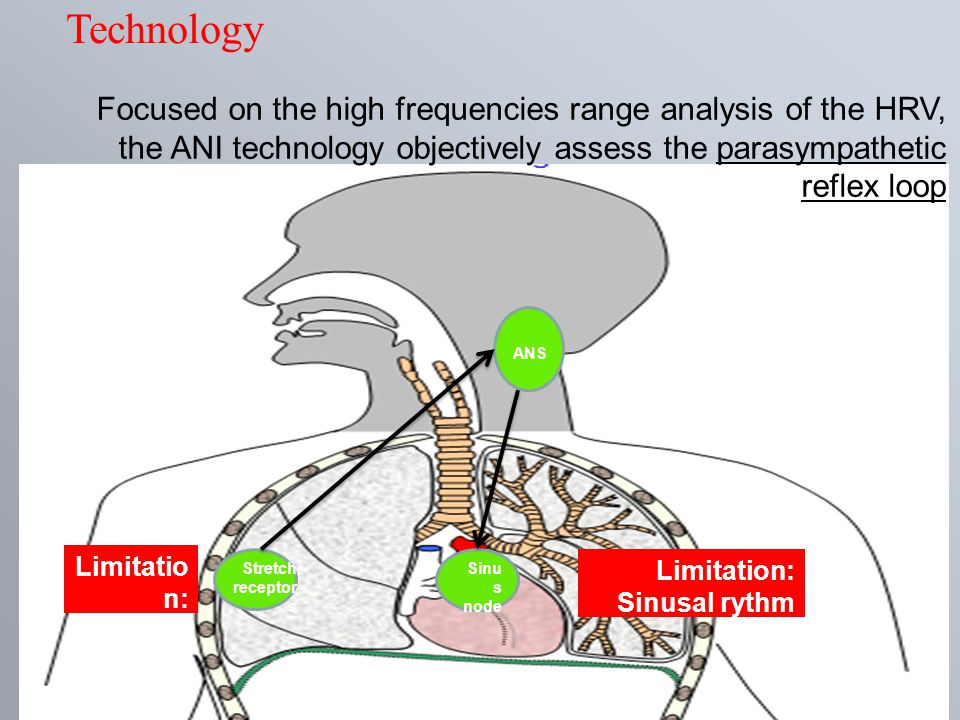 Focused on the high frequencies range analysis of the HRV, the ANI technology objectively assess the parasympathetic reflex loop ANS Sinu s node Stret