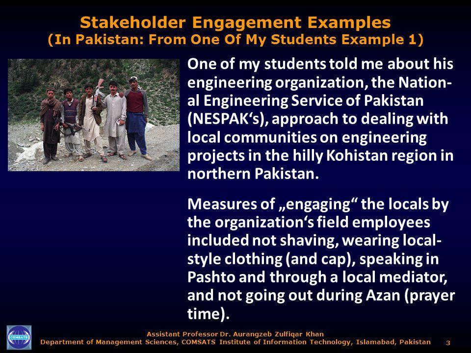 Assistant Professor Dr. Aurangzeb Zulfiqar Khan Department of Management Sciences, COMSATS Institute of Information Technology, Islamabad, Pakistan 3