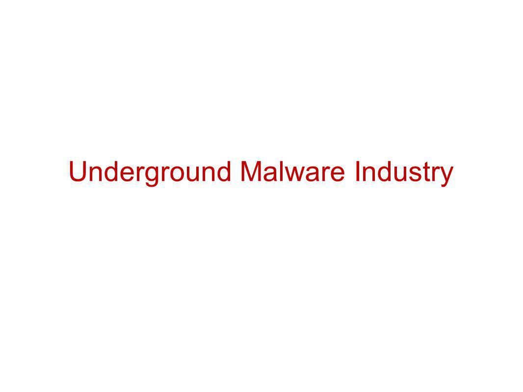 Underground Malware Industry