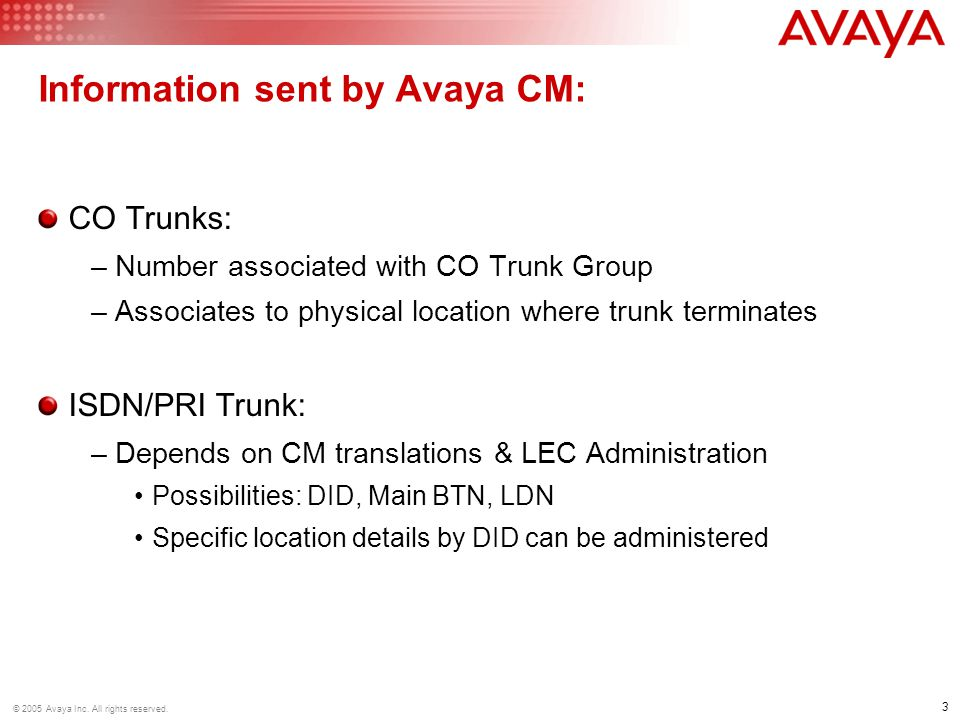 3 © 2005 Avaya Inc. All rights reserved.